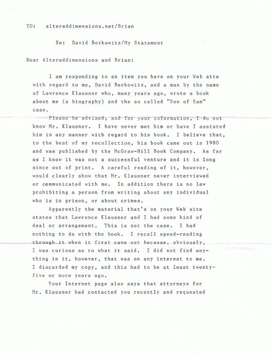 Son of Sam - David Berkowitz - Page 2 of letter to Altered Dimensions