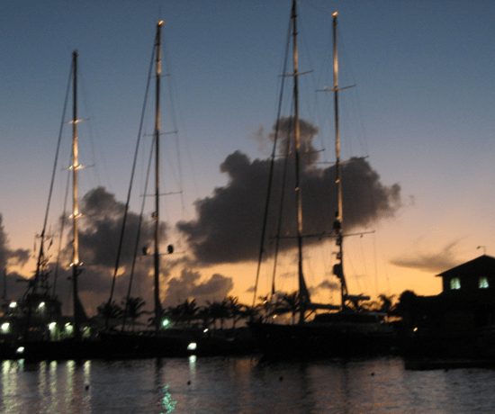 Sailboat masts with red light on top and angled rigging