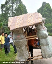 Onlookers watch as he carries his home along a road in China