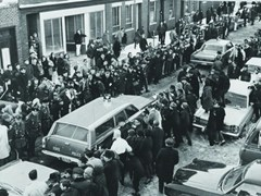Crowds gather as the police investigate the Boston Strangler case