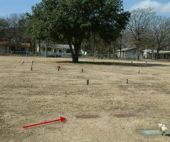 Arrow shows location of Lee Harvey Oswald's gravesite
