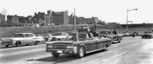 JFK limo on Stemmons-Freeway as President is rushed to Parkland Hospital