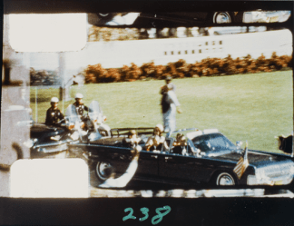 Frame 238 from the Zapruder film shows the moment Kennedy was shot