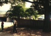 Fence near the top of the grassy knoll