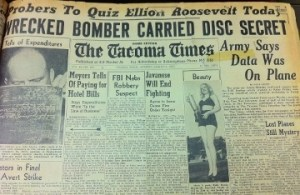 1947 Tacoma Times headline: Wrecked bomber carried disc secret