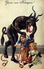 Early illustration of Krampus capturing a small children