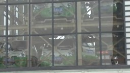 Cars can be viewed through glass