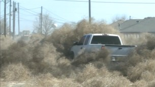 A truck attempts to plow through the tumbleweeds in Roswell, New Mexico