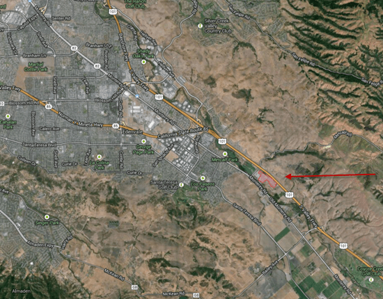 Location of the PG&E Metcalf substation electrical-grid terrorist attack