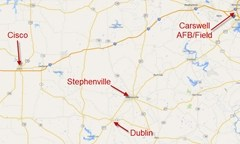 Map showing key locations in the Stephenville Lights sighting