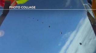 Composite photo of the meteorite passing by the skydiver