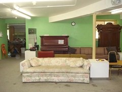 Sofa in the Green Room of Lewiston Civic Theatre - where Voss said he slept through the disappearances that night