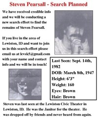 Missing persons poster - Steven Pearsall