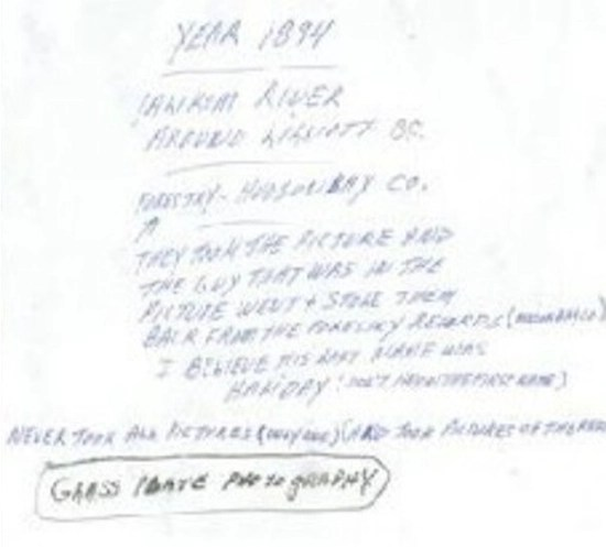 The writing on the back of the photo (see transcript above)