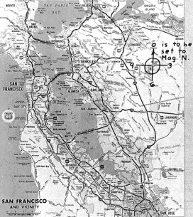 Phillips 66 map included with map letter sent to San Francisco Chronicle on June 26, 1970