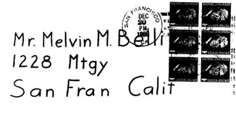 Envelope for letter sent to Melvin Belli on December 20, 1969 (postmarked San Francisco)