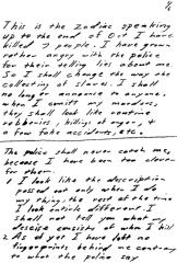 Bus bomb letter sent to San Francisco Chronicle on November 9, 1969 (postmarked San Francisco)