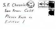 Envelope for letter sent to San Francisco Chronicle on July 31, 1969 (postmarked San Francisco, California)