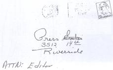 Envelope of letter sent to Riverside Press on April 30, 1967 (copy of letter has never been released)
