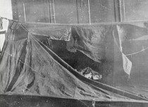 A Dylatov Pass torn and cut tent