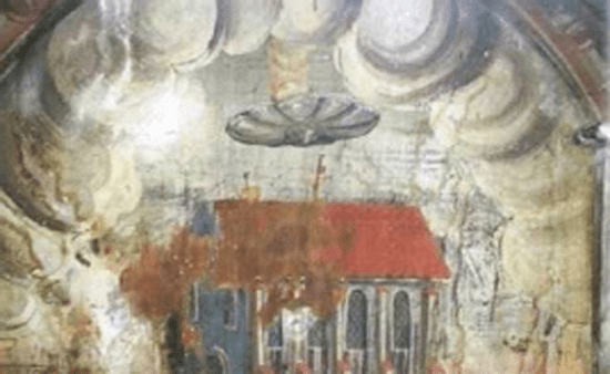Painting of UFO in the Biserica Manastirii, or Church of the Dominican Monastery, in the town of Sighisoara, Romania