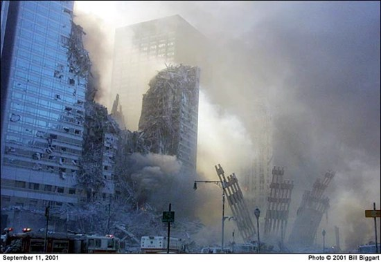 Bill Biggart's last photograph of the World Trade Center towers - taken at 10:28:24 AM, just momemts before the North Tower collapsed and killed him