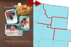 Photos on cover of The Thrill of the Chase resemble map of Utah, Idaho, Montana, and Wyoming
