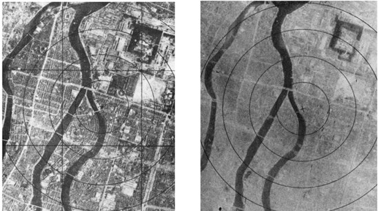 """A """"before and after"""" photo of Hiroshima – 1945."""