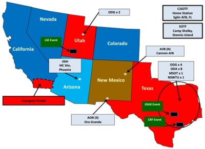 Map showing Jade Helm 15 operational area