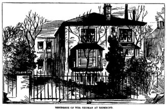 Mayfield Cottages, Julia Martha Thomas' house in Richmond. She lived in the left-hand portion (number 2) of the semi-detached villa.