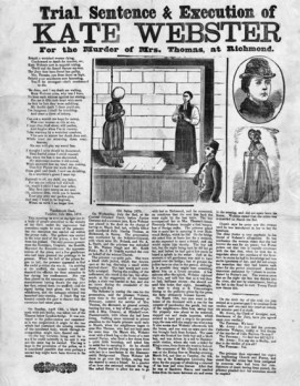 An anonymous broadside published ca. July 1879 commemorating the trial, sentence and execution of Webster.