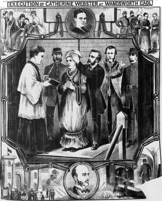 Webster's execution, as depicted by a souvenir illustration in the Illustrated Police News.