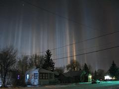Light pillars over Finland