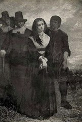 Salem witch being taken to the gallows for hanging