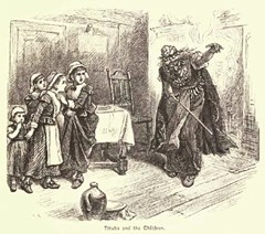 Woodcut drawing of Tituba (accused Salem witch) and the children