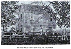 The house where witchcraft started in Salem Village (now Danvers) Massachusetts