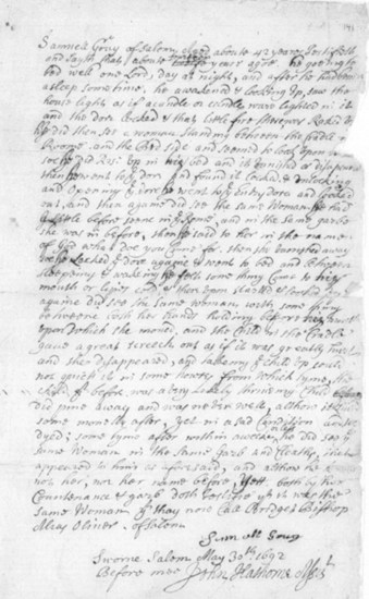 Testimony of Samuel Gray v. Bridget Bishop