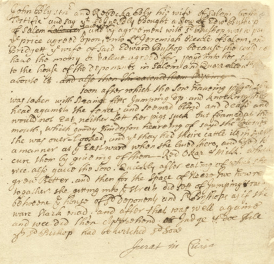 Testimony of John Bly, Sr and Rebecca Bly v. Bridget Bishop
