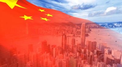 China flag over Beijing