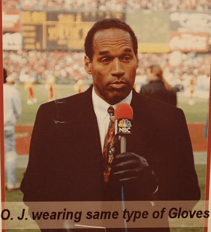 Newscast video frame showing OJ wearing black gloves just like those found at the murder scene and behind Kato's cabin