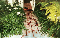 Bloody footprints at the scene of the crime