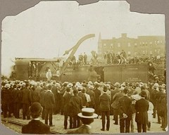 Rare photo showing Mary hanging from the crane while a crowd looks on