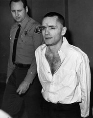Charles Manson during the later days of court - after shaving his head and cutting off his beard