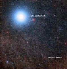 Proxima Centauri and Alpha Centauri A/B star systems