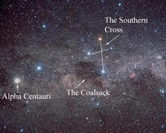 Alpha Centauri in the night sky (as seen from Earth)
