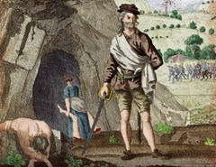 Sawney Bean at the entrance to his cave - note wive in background carrying body while Kings posse closes in