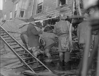 Rescuers attempting to reach victims of the Great Molasses Flood