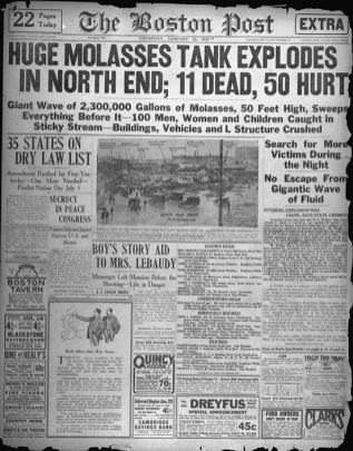 Headline announcing the Boston Molasses Flood