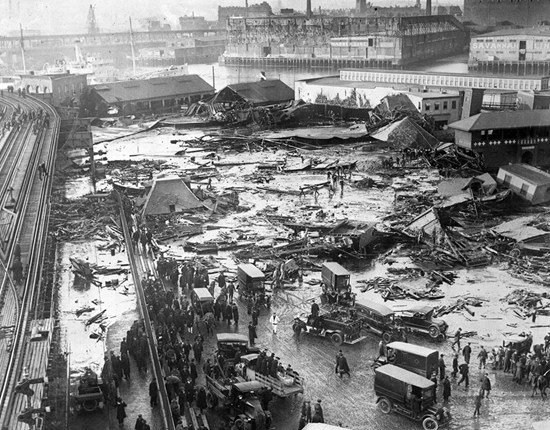Overview of Boston's Great Molasses Flood disaster - burst tank seen in background