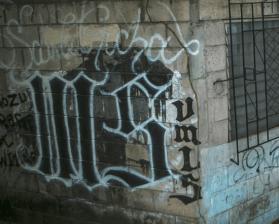 MS-13 gang graffiti (tags)